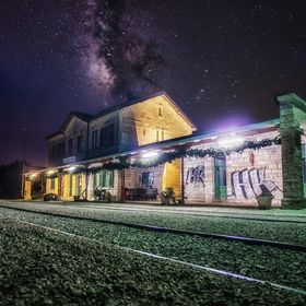 Train station under Milky way